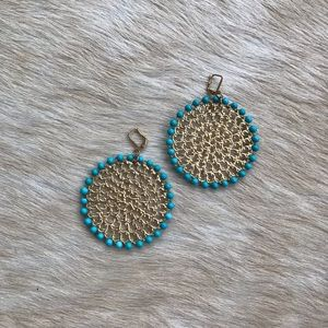 Sylvia Benson Metal Disc Earrings with Blue Beads